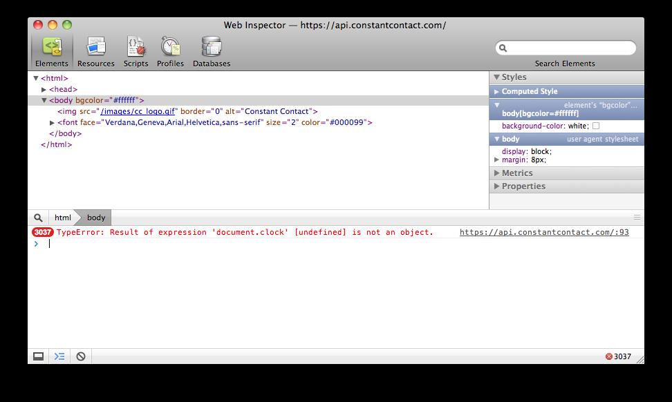 Constant Contact API downtime JS error
